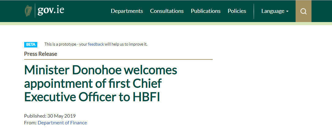 Minister Donohoe welcomes appointment of first Chief Executive Officer to HBFI
